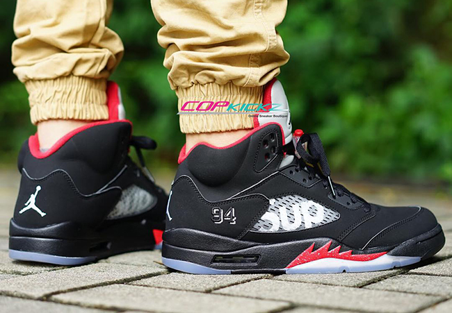 d26dd68de86 Supreme X Air Jordan 5 Black And Fire Red New Style, Price: $87.50 ...