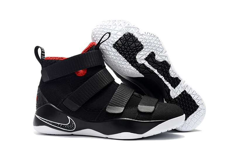 """the best attitude ccc44 f4a6a Nike LeBron Soldier 11 """"Bred"""" Black And White-University Red Free Shipping"""