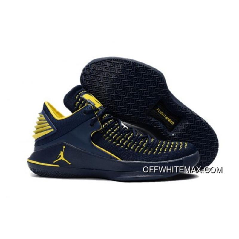 "5e1649e3bc2 Air Jordan 32 Low ""Michigan"" PE Black And Maize Yellow Top Deals ..."