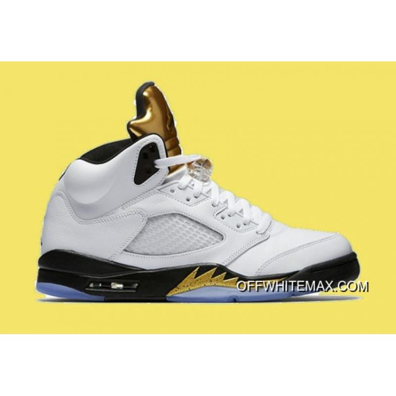 17a4e04bda8c Air Jordan 5  Olympic  White And Black-Metallic Gold Discount ...