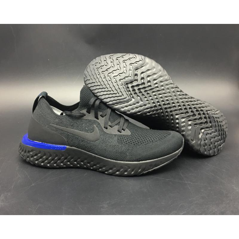 "0ccaef6af For Sale Nike Epic React Flyknit ""Triple Black"" Black/Racer Blue/Black ..."