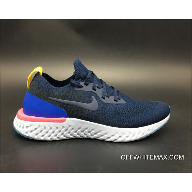 ... New Release Nike Epic React Flyknit Running Shoes College Navy/Racer  Blue-Pink Blast ...