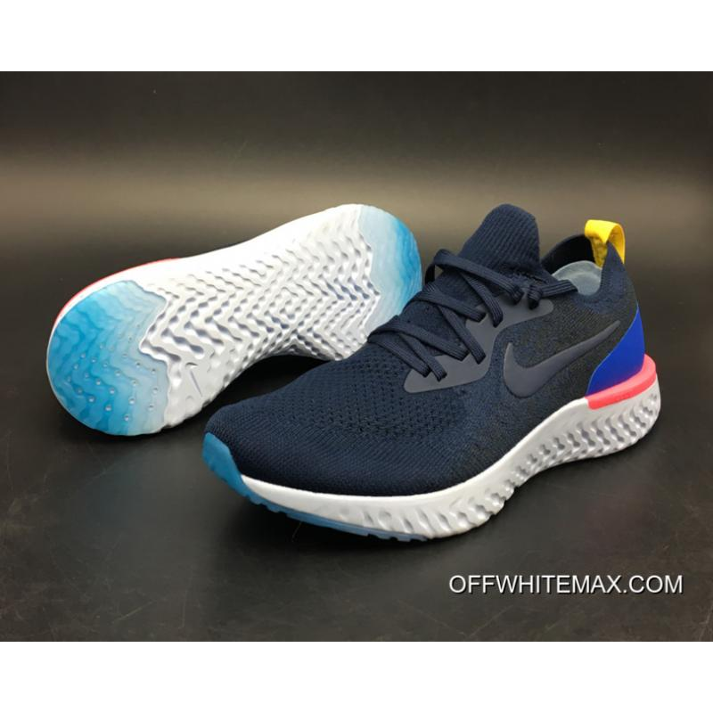 ... white racer blue; new release nike epic react flyknit running shoes  college navy racer blue pink blast