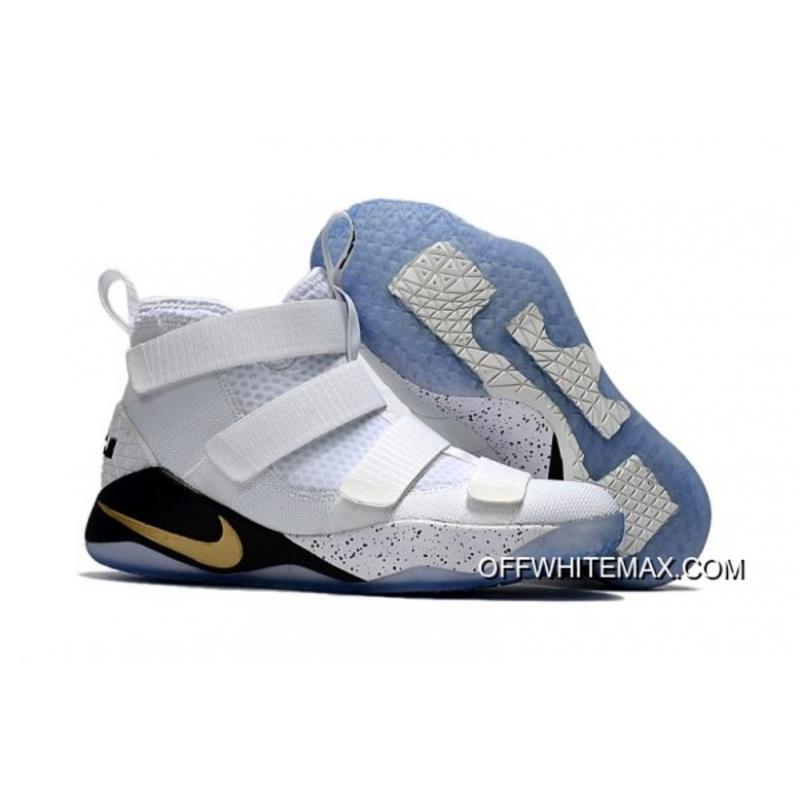 4dc1765bfde4 Free Shipping Nike LeBron Soldier 11  Court General  White And Metallic  Gold-Black ...