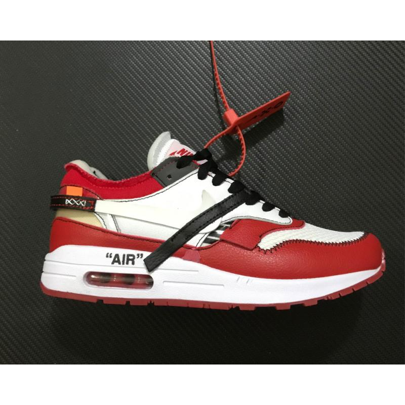 2d6057b3eec56 New Release Virgil Abloh X BespokeIND X Off-White X Nike Air Max 1s Red ...