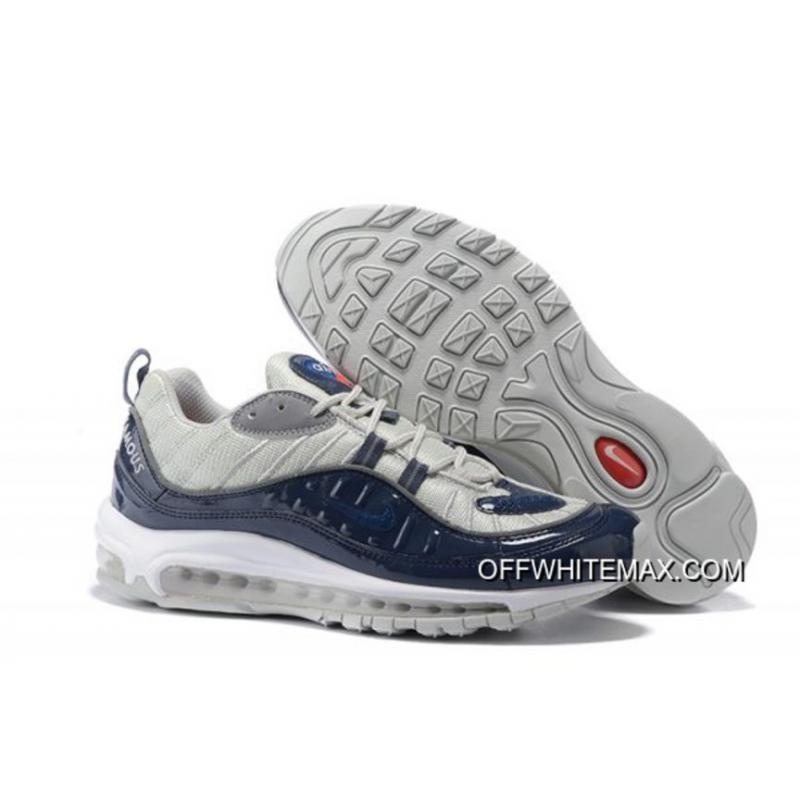 purchase cheap 48916 997d5 For Sale Supreme X Nike Air Max 98 Navy Blue And Silver