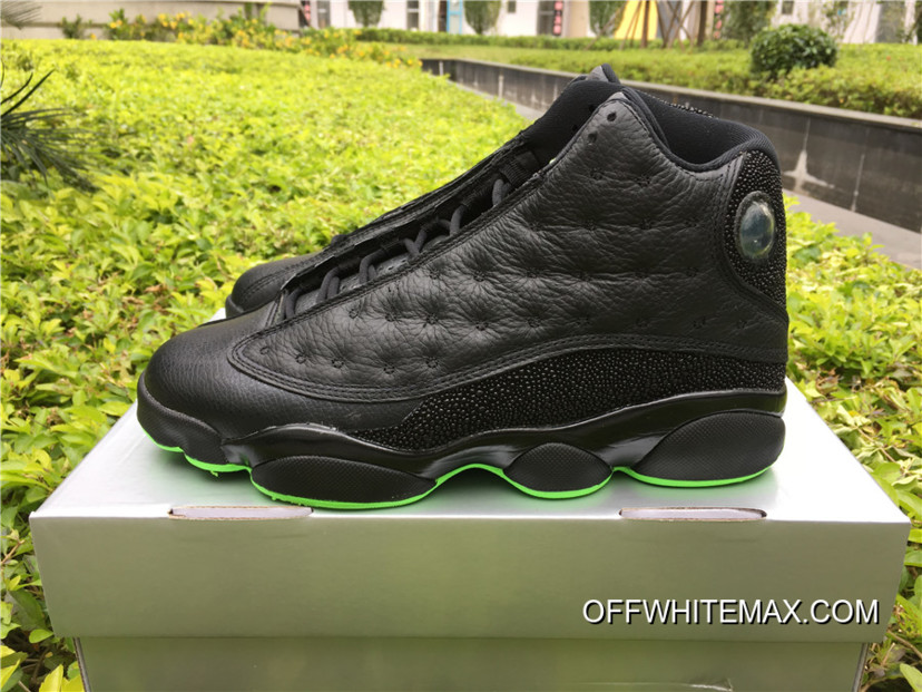 f8d6f14c741857 Air Jordan 13  Altitude  Black And Altitude Green New Style