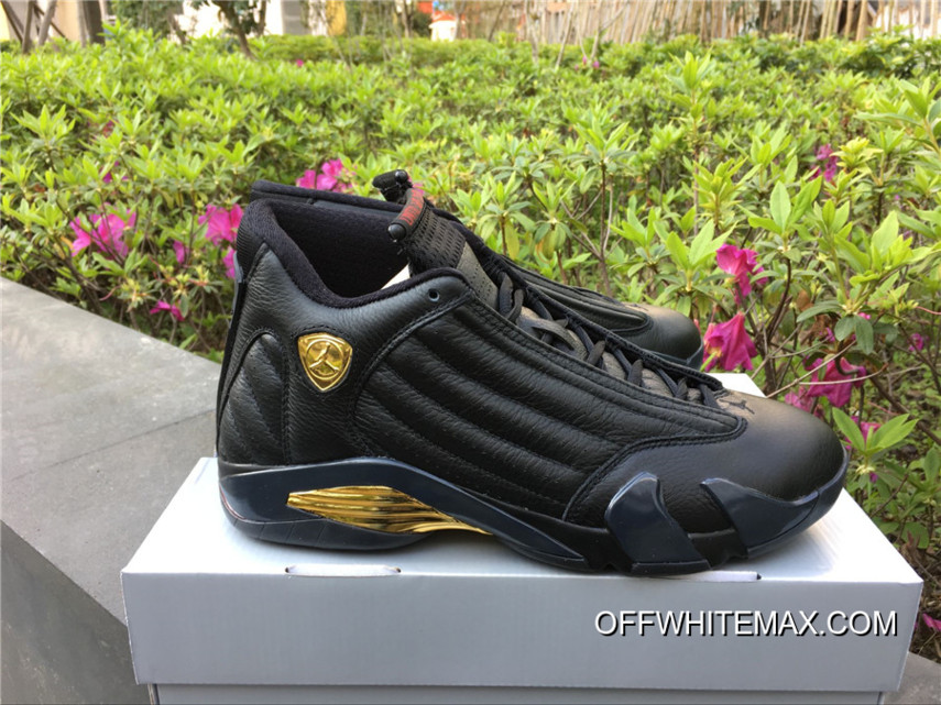 new style 90cdf c68ee Free Shipping Air Jordan 14  DMP  Black Varsity Red And Metallic Gold