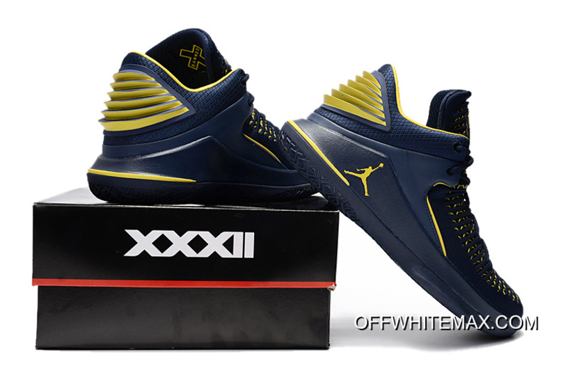 """new products 2587f 7fe98 Air Jordan 32 Low """"Michigan"""" PE Black And Maize Yellow Top Deals"""