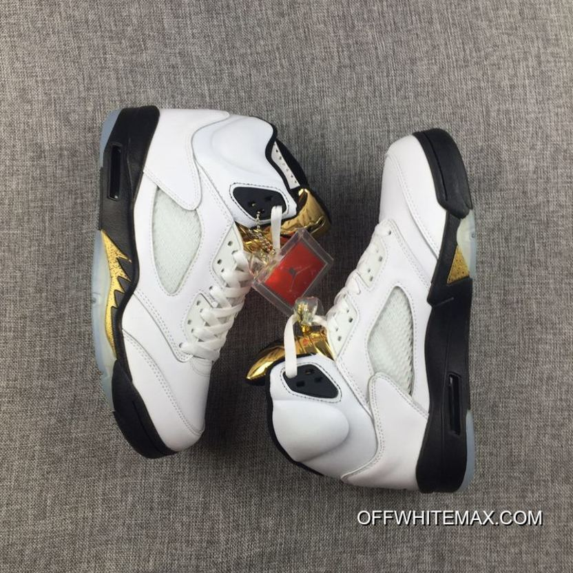 reputable site 612f3 7ef69 Air Jordan 5  Olympic  White And Black-Metallic Gold Discount