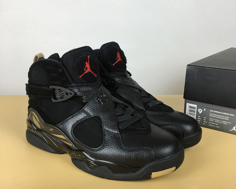 0615b82b6a5616 Best Air Jordan 8 OVO Black Metallic Gold-Varsity Red