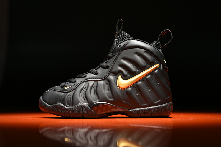on sale 36ee4 e7aae New Style Kids Nike Air Foamposite Pro Black Gold