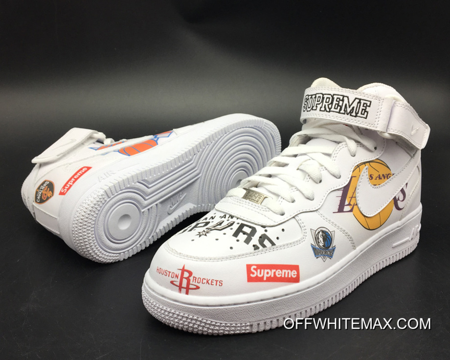 huge selection of fc3e4 abd4d Supreme X Nike Air Force 1 Mid NBA Team Logos Super Deals