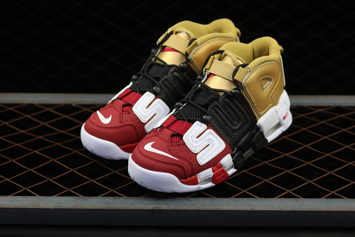 pretty nice a2fde 01bf9 Supreme X Nike Air More Uptempo  Tri-Color  Black Gold Red