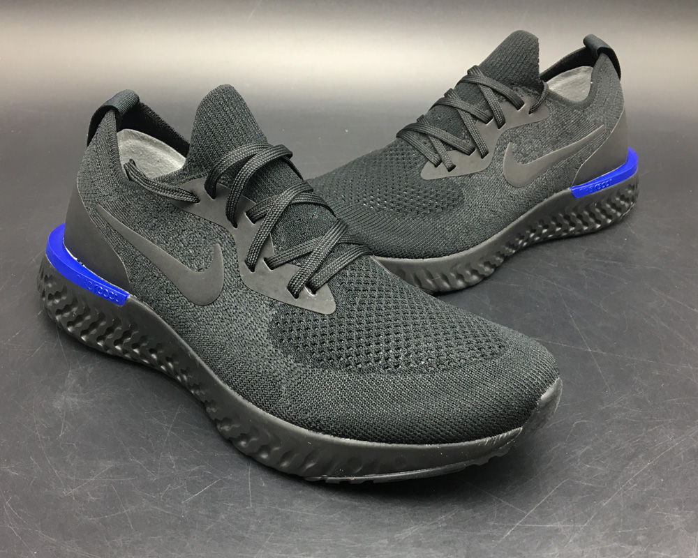 "6abdfef70 For Sale Nike Epic React Flyknit ""Triple Black"" Black/Racer Blue/Black"