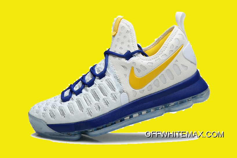 "outlet store 62420 a8db8 Nike KD 9 ""Golden State Warriors"" White Blue Yellow New Release"