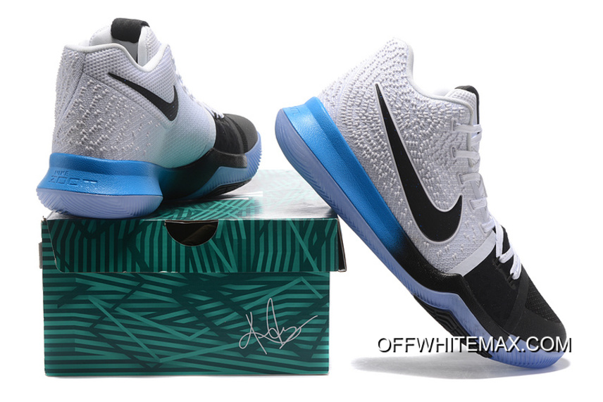 a4fd2745603f New Year Deals Nike Kyrie 3 White Black Blue Gradient Midsole