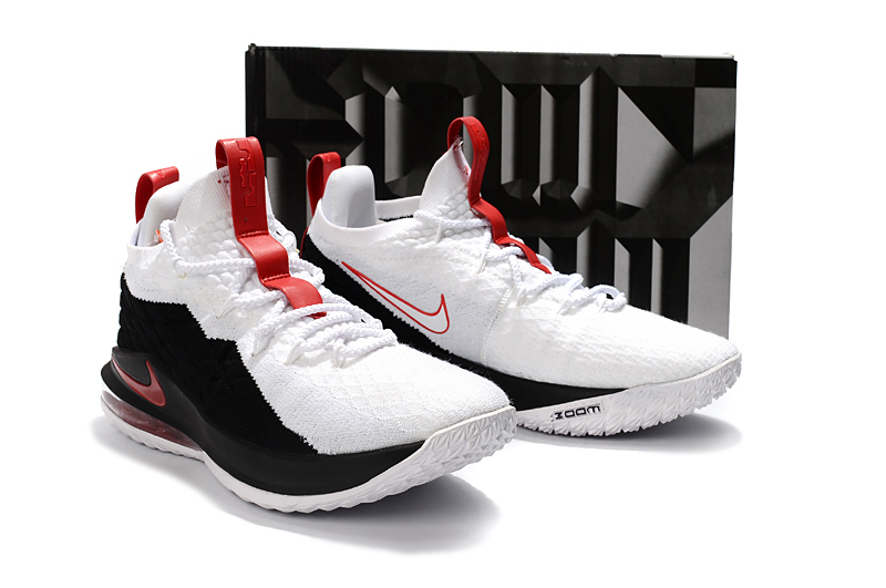 c95333b71786 Nike LeBron 15 Low Black White Red For Sale