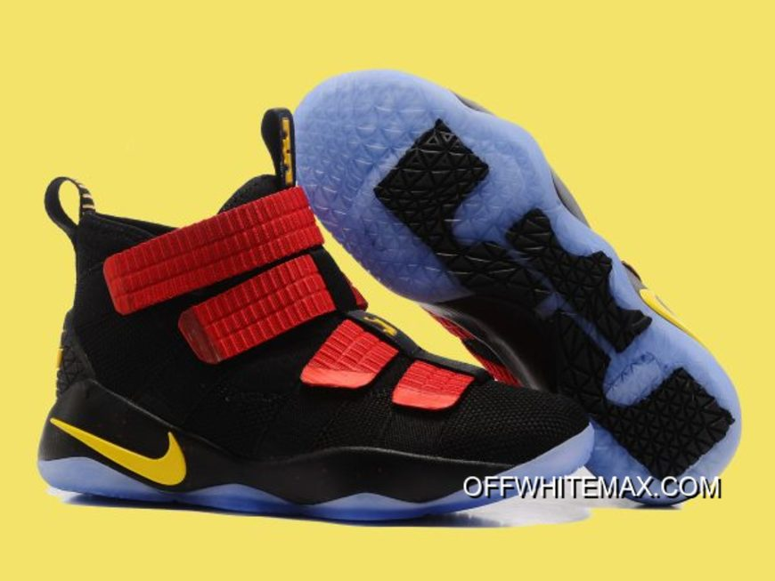 1cfc74f8ea1 Nike LeBron Soldier 11 Black And Red Gold New Release