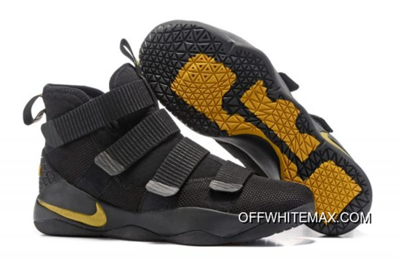 b7d3496ed45e Nike LeBron Soldier 11 Black And Gold New Year Deals