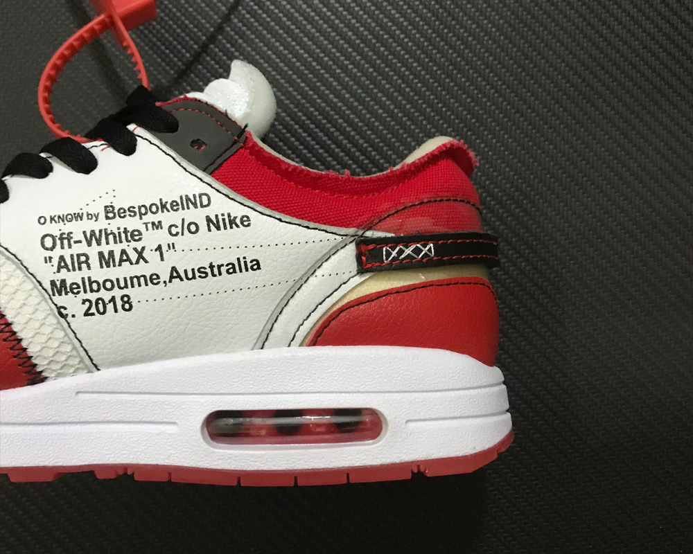 timeless design 6be4f 7f61a New Release Virgil Abloh X BespokeIND X Off-White X Nike Air Max 1s Red