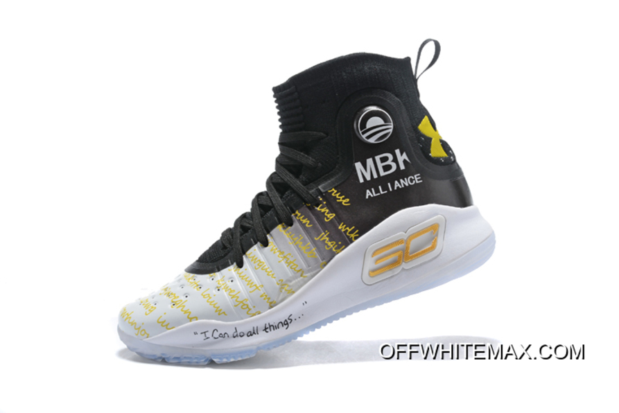 "b56be0e8811 Online Under Armour Curry 4 ""MBK Alliance"" White And Black"